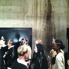 Girls lining up for Meadham Kirchoff. Raw! #lfw #aw13
