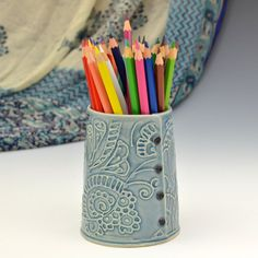 Handmade Pen holder READY TO SHIP by Creativewithclay on Etsy, $38.00
