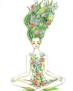 Yoga Art Illustration Namaste Ideas For 2019 Art And Illustration, Meditation Art, Yoga Art, Inspiration Art, Art Inspo, Yoga Kunst, Yoga Drawing, Art Du Croquis, Art Drawings