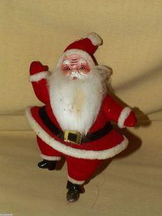 FLOCKED VINTAGE DANCING SANTA CLAUS CHRISTMAS ORNAMENT CAKE DECORATION? PLASTIC