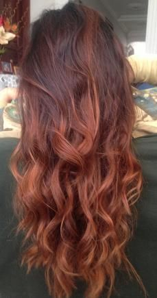 Dark Red Ombre would love wit blonde tips ~ Want to grow out my hair and get it permed
