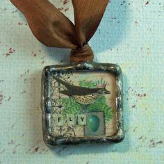 Soldered Art Collage Bird Charm / Pendant