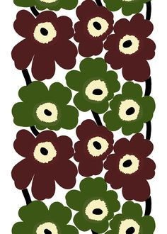Unikko fabric by Maija Islola. Produced by Marimekko. Fabric designed by Maija Isola in 1964 to teach Armi Ratia, the founder of Marimekko, a lesson after she had announced in public that no floral fabrics would be produced by Marimekko.