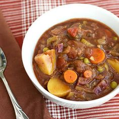 Hearty Vegetable Stew recipe: A Hearty Vegetable Stew chock full of healthy starches, veggies, mushrooms, and a rich savory broth. Paired with a thick slice of homemade bread - perfect. Vegetarian Stew, Vegan Stew, Vegetarian Recipes, Veggie Stew Recipes, Vegan Gravy, Vegan Soups, Whole Food Recipes, Dinner Recipes, Cooking Recipes