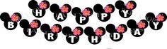 DIY Digital Minnie Mouse Luau Printable Party Banner  by PartyPops