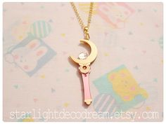 MADE to ORDER Cosmic Crescent Moon Wand Sailor Moon Inspired Laser Cut Acrylic Necklace for Mahou Kei, Magical Girl Fashion