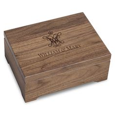 Our beautiful solid walnut College of William & Mary desk box is made from hand-selected domestic walnut and crafted in the USA. Butcher Block Cutting Board, Bamboo Cutting Board, William And Mary, Desk Accessories, Wood Boxes, Graduation Gifts, College, Crafts, Usa