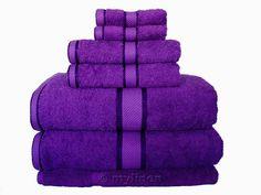fluffy purple towels