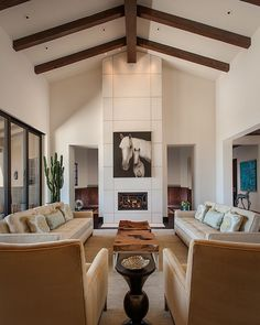 Custom crafted coffee table using a natural slab of wood [From: Janet Brooks Design]