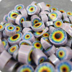 Rainbow Tie-Dye Murrini - lampwork art glass - 6.00 : Jane Hamill, art glass beads and jewellery