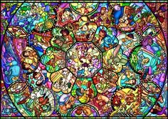 Disney Stained Art Jigsaw All Stars Stained Glass Officially licensed by tenyo. New and sealed inside retail packaging. Completed puzzle ~ 2 x 7 cm. Contains 1000 jigsaw puzzle pieces. Deco Disney, Art Disney, Disney Magic, Disney Mural, Disney Collage, Disney Mickey, Disney Stained Glass, Stained Glass Art, Pixar