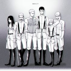 Pieck, Galliard, Reiner, Bertholdt, Annie, and Zeke