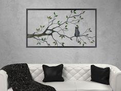 moderne Wanddekoration Blätter Metall Wandbild Wanddeko Wandrelief Wald Baum