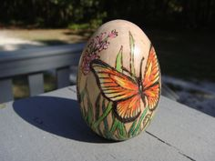butterfly woodburning pyrography on wooden egg by ADragonflysFancy, $15.00