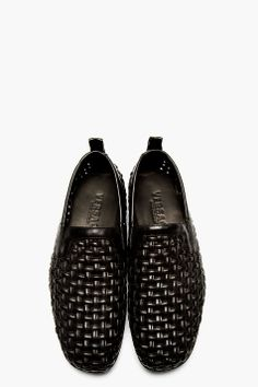 VERSACE Black Leather Basket Weave Loafers