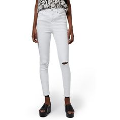Topshop 'Jamie' Ripped High Rise Ankle Skinny Jeans ($75) ❤ liked on Polyvore featuring jeans, white, white high waisted jeans, high rise skinny jeans, high-waisted skinny jeans, white ripped skinny jeans and ripped skinny jeans