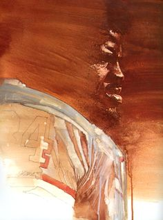 Earl Campbell, Houston Oilers Running Back. Portrait by David Grove 1980.