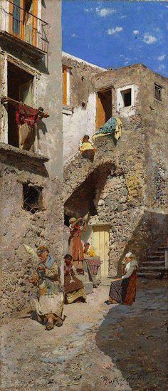 """Rubens Santoro, """"Case rustiche e filatrici"""", 1878 olio su tela, cm 70 x 31 (Mongrassano, 1859 - Napoli, 1942)"""