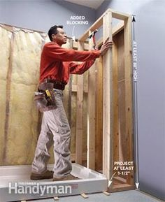 Preformed, one-piece shower bases make installing a new shower much easier. This article explains the process, from ripping out the old shower or tub to installing the plumbing. Shower Remodel, Bath Remodel, One Piece Shower, Shower Installation, Plumbing Installation, Shower Fittings, Shower Base, Shower Drain, Diy Shower