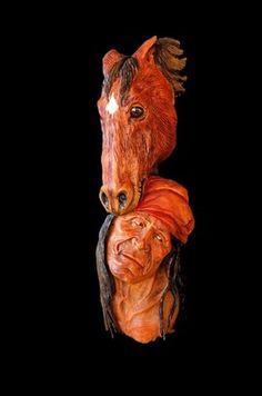 OOAK, Wood Tree Spirit, Carving, Native American Face, Muzzleloader, Horse