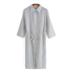 SheIn(sheinside) Blue White Lapel Vertical Stripe Shirt Dress (€15) ❤ liked on Polyvore featuring dresses, multicolor, white long sleeve dress, striped shift dress, shirt-dress, long blue dress and shirt dress