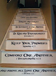 Family Rules Stair Decal In 2019 Painted Stairs Family Painted Staircases, Painted Stairs, Living Haus, Home Living, Home Renovation, Home Remodeling, Stair Decor, Family Rules, Staircase Design