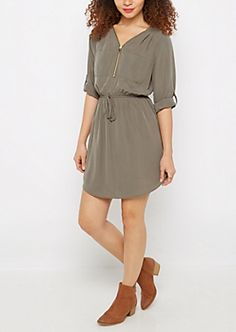 abe15141ed4 Olive Zip Neck Shirt Dress Going Out Dresses