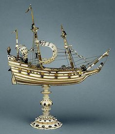 Ship (Ship), 1620-1650 (made). Model ship, in carved ivory with gold rigging and enamelled gold rails and gold mounts set with rose cut stones.