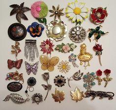 35 Vintage & Modern Brooch Lot RHINESTONE Japan Coro #vintage #jewelry #ebay #butterfly #Flowers Avon Giovanni