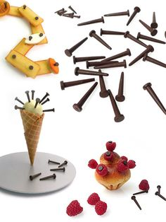 Clous en chocolat qui peuvent se planter dans de la brioche, de la glace ou des fruits…, Stéphane Bureaux (2009)