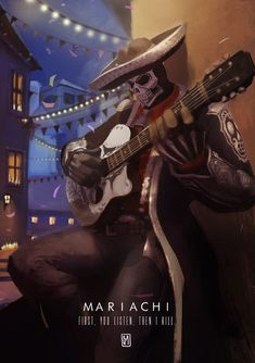 """""""first you listen, then i kill"""" <<< love the art :D Fantasy Character Design, Character Art, La Muerte Tattoo, Mexican Art Tattoos, Indian Tattoos, Mexican Artwork, Overwatch Reaper, Day Of The Dead Art, Mexico Art"""