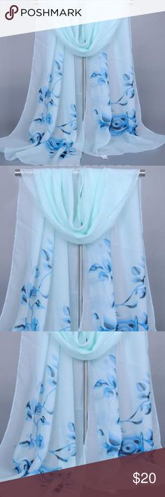 Beautiful Blue & White Floral Print Chiffon Scarf. Beautiful Blue & White Chiffon Floral Scarf. Floral Print Chiffon Scarf. Soft and lightweight. Material: Chiffon. Size: 160cm*50cm. Great accessory for all occasions. Brand New. Accessories Scarves & Wraps
