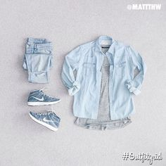 Today's top #outfitgrid is by @mattthw. ▫️#Kitsuné #DenimShirt ▫️#Ksubi #Denim…