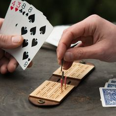 Travel Cribbage Board  Leather Travel Game by WalnutStudiolo