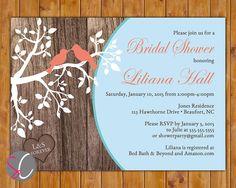 Country Bridal Shower Birds in Tree Invitation Rustic Wood Design Baby Blue Aqua Coral Invite 5x7 Printable JPG Invite (428)