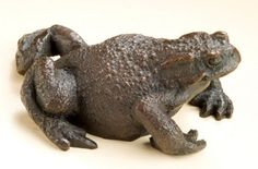 Bronze Frogs Toads, Newts, Salamanders and Amphibians sculpture by artist David Cemmick titled: 'Grumpy Olde Toad (bronze life size Squatting Toad statues statuettes)'