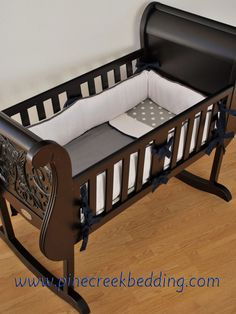 White Grey and Navy cradle bedding