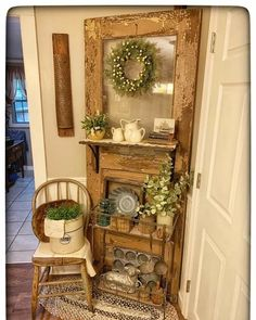 I added a shelf to the front of my old chippy door. Love how it turned out. ❤️ Visit me on IG: isaacsrustywagon Old Door Projects, Home Projects, Rustic Decor, Farmhouse Decor, Diy Home Decor, Room Decor, French Country Decorating, Repurposed Furniture, Furniture Makeover
