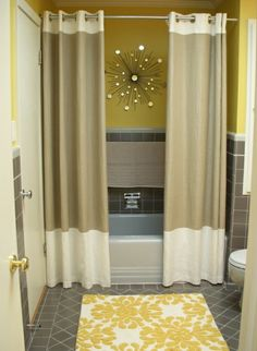 Definitely am digging the either curtains as shower curtains or just two shower curtains :)