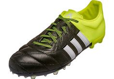 280fb7155 adidas Kids Leather ACE 15.1 FG AG Soccer Cleats - Black and White Youth  Soccer