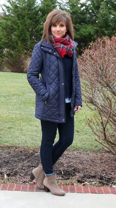 When the weather is cold, it's time to layer up with a Gap sweater, plaid scarf and a quilted coat from Stitch Fix.