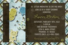 little monster baby boy shower invitation print by persnickitude, $12.00