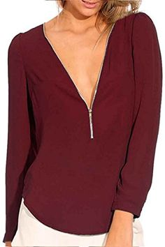 Moly Magnolia Womens Sexy V Neck Chiffon Long Sleeve Zipper Top Blouse Tshirt Wine Red XL * You can find more details by visiting the image link.