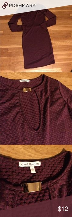 Large Charlotte Russe dress NWOT NWOT maroon large Charlotte Russe dress. Stretchy material and great for fall. Charlotte Russe Dresses Midi