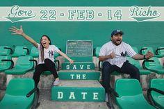 Sesión de Fotos Save the Date, Bodas, Novias, Novios, Divertidos, Estadio de beisbol Kukulkan, Mérida, Yucatán, México. Enrique Osorno
