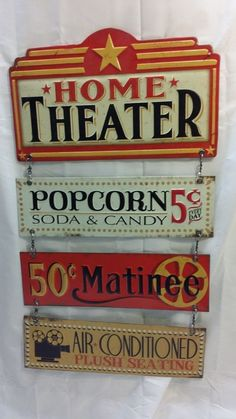 Check out this Hanging Home Theater Sign, Item 30002335 - found by Michelangelo. Find the Home & Garden:Home Theatre with FyndIt Movie Theater Rooms, Cinema Room, Home Theater, Cinema Theater, Drive In Cinema, Cinema Sign, Popcorn Stand, Popcorn Bar, Home Bar Rooms