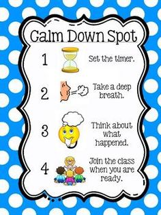 Calm Down Spot by Kelly Jean Classroom Behavior, Classroom Setup, Kindergarten Classroom, Future Classroom, Classroom Activities, Learning Activities, Social Emotional Development, Social Emotional Learning, Coping Skills