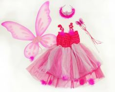 Kids Hot Pink & Fuschia 4 Pc Fairy Pixie Costume with Dress, Wand, Pixie Wings, and Hair Piece. Select Size: Medium (5-8) Lil Princess. $18.99