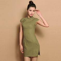 ff82623b95 Custom Made Moss Green Cotton Flax Cheongsam Qipao Dress - Qipao - Cheongsam  - Women
