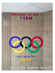 Olympic themed classroom to welcome your students back to school during an Olympic year. So fun to incorporate the Olympics into your classroom. (Not pictures: all student names were written on gold medals!)